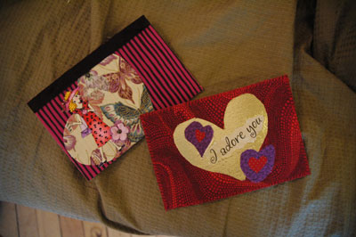 Fabric post cards by Zoe and Ann