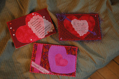 Fabric post cards by Jean, Ann, and Tamara