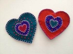 embroidered valentines - front